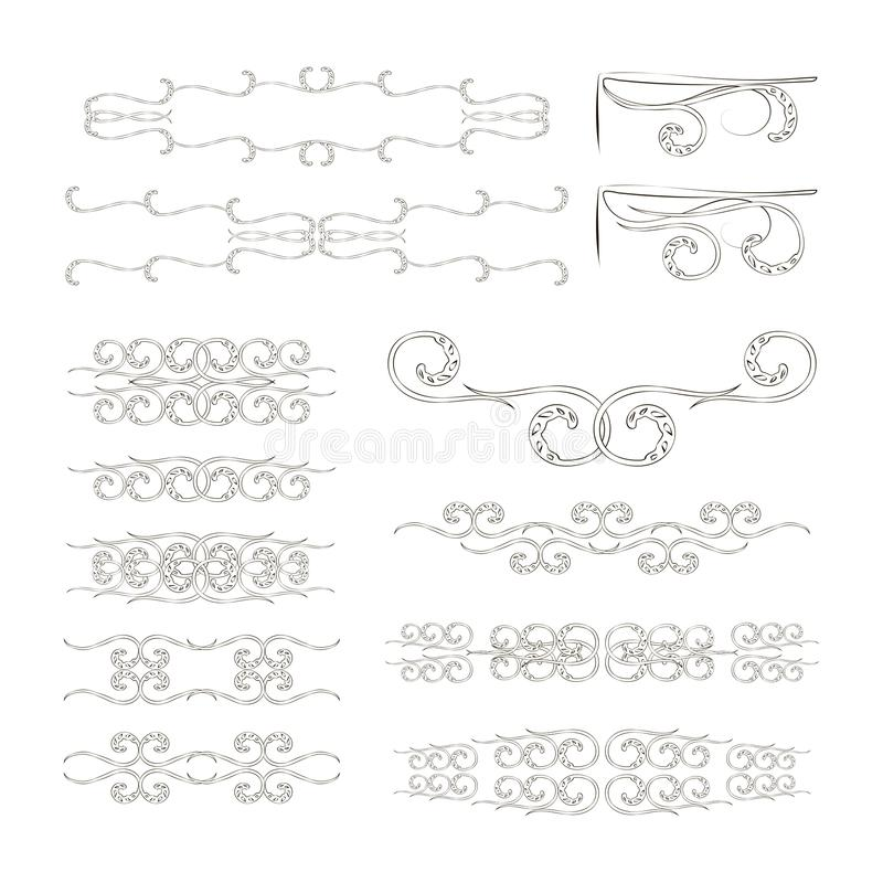 Ustawia wektorowe czarne linie na białego tła wzorów kwiecistych dividers, kąty, monogram natury retro ornament ilustracja wektor