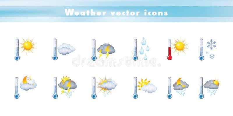 Ustawia wektorowe ikony z termometru i prognoza pogody 3d ilustracją Symbole i znak meteorologia temperatura - klimat - ilustracji