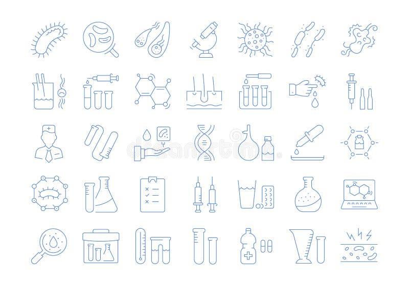 Ustawia Wektorowe mieszkanie linii ikon bakterie i wirusa royalty ilustracja