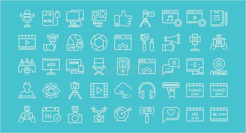 Ustawia Wektorowe mieszkanie linii ikony Blogging ilustracja wektor