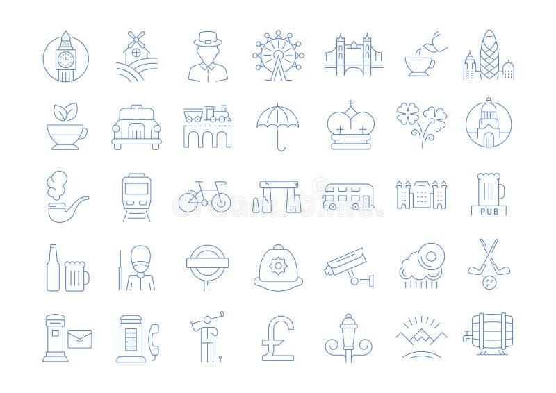 Ustawia Wektorowe mieszkanie linii ikony UK royalty ilustracja