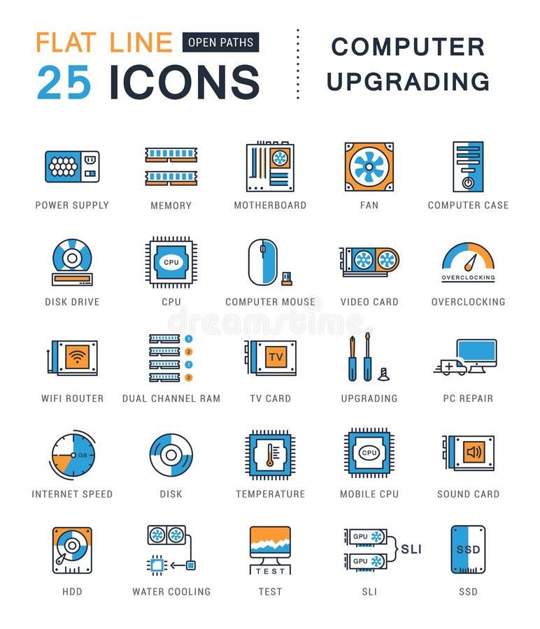 Ustawia Wektorowe mieszkanie linii ikony Ulepsza komputer ilustracja wektor