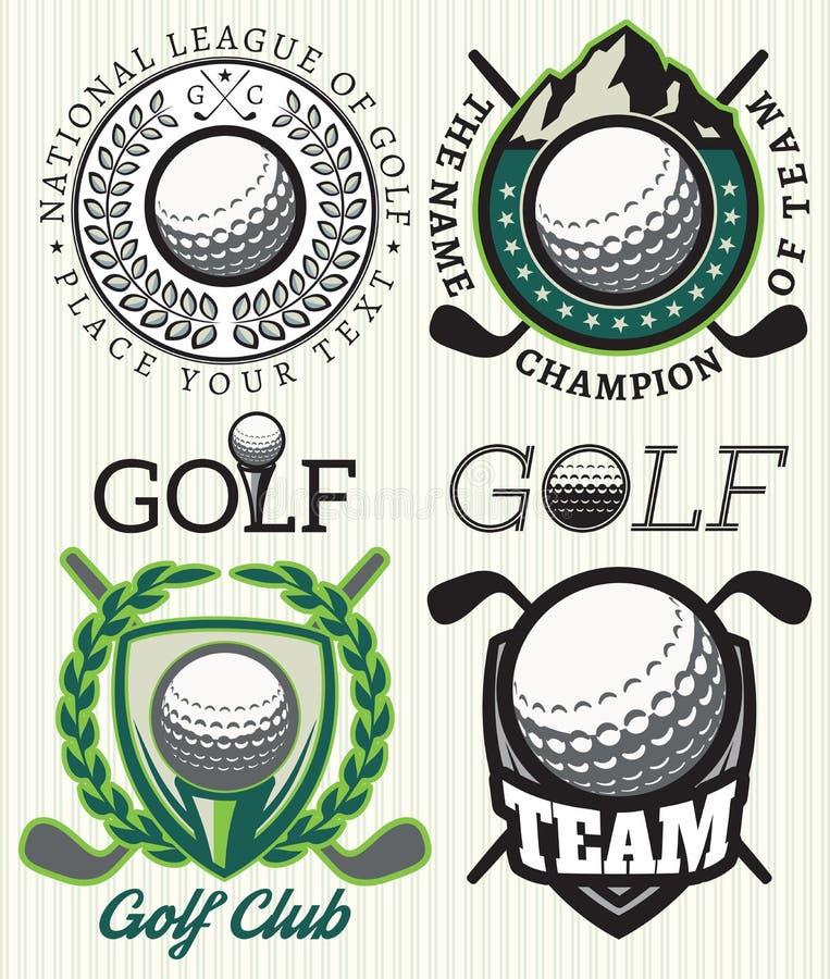 Ustawia wektorowe wzór odznaki z atrybutami dla golfa ilustracja wektor