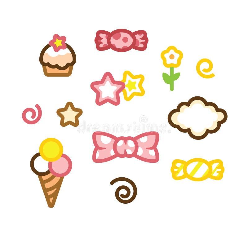 Ustawia wektorowego ikona cukierek, lody, tort, gwiazdę, kwiatu i chmury odizolowywających na białym tle w doodle stylu, ilustracja wektor