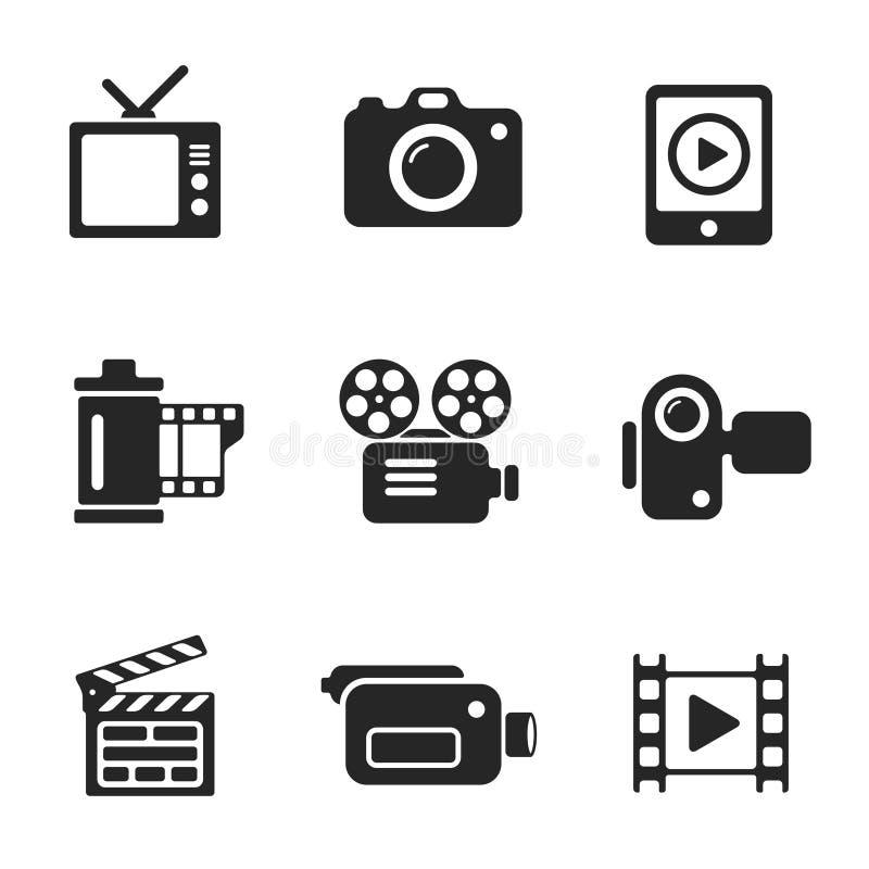 Ustawia wektorowego komputeru ikony fotografia i wideo ilustracja wektor