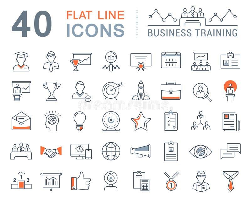 Ustawia Wektorowego mieszkanie linii ikon biznesu szkolenie royalty ilustracja