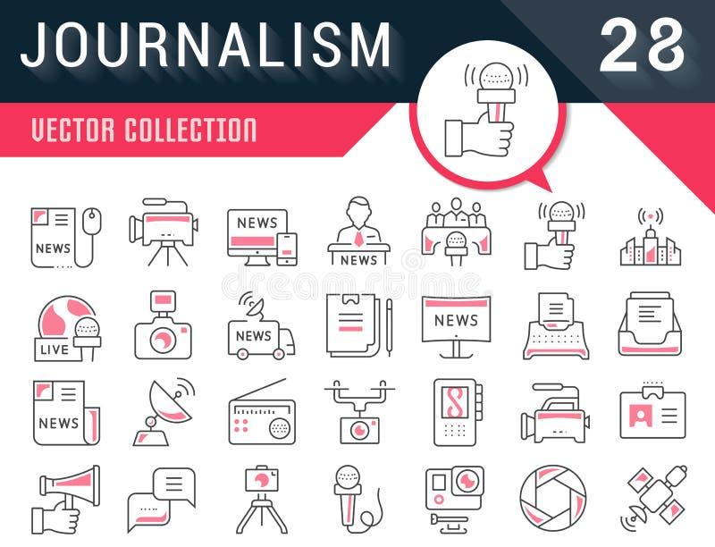 Ustawia Wektorowego mieszkanie linii ikon dziennikarstwo ilustracji