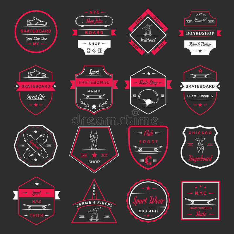 Ustawia Wektorowego Retro Jeździć na deskorolce loga i odznakę ilustracja wektor