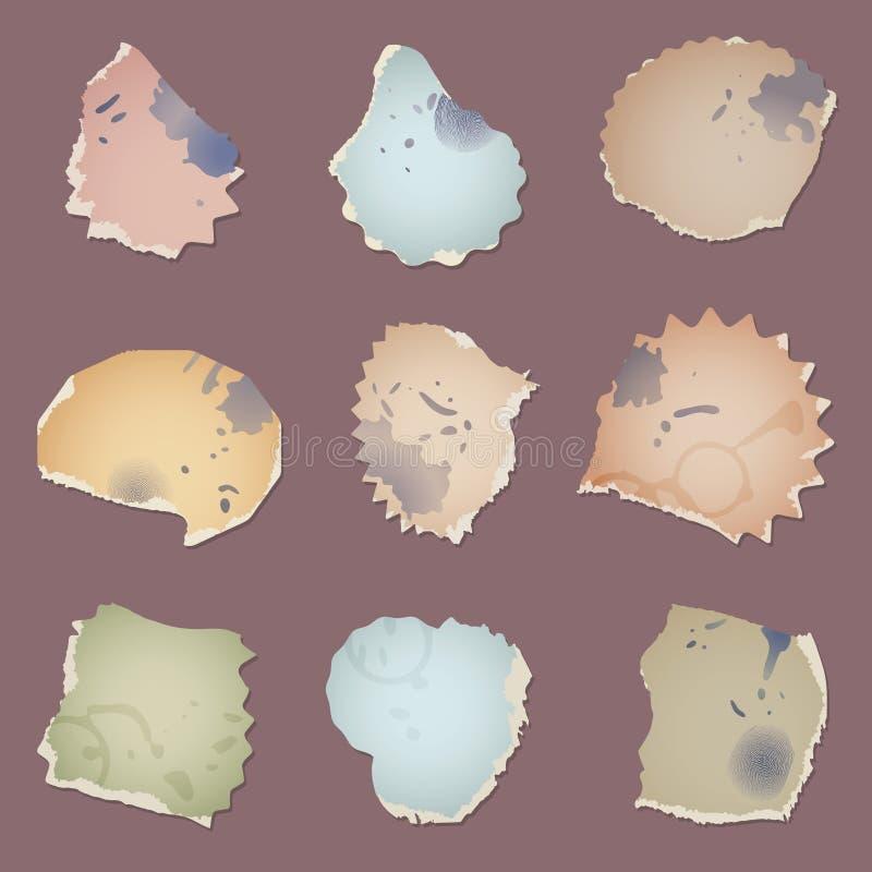 Ustawia wektorowego rocznika brudnych papierowych kawałki z splats, odciskami palca i filiżanka okręgami, royalty ilustracja