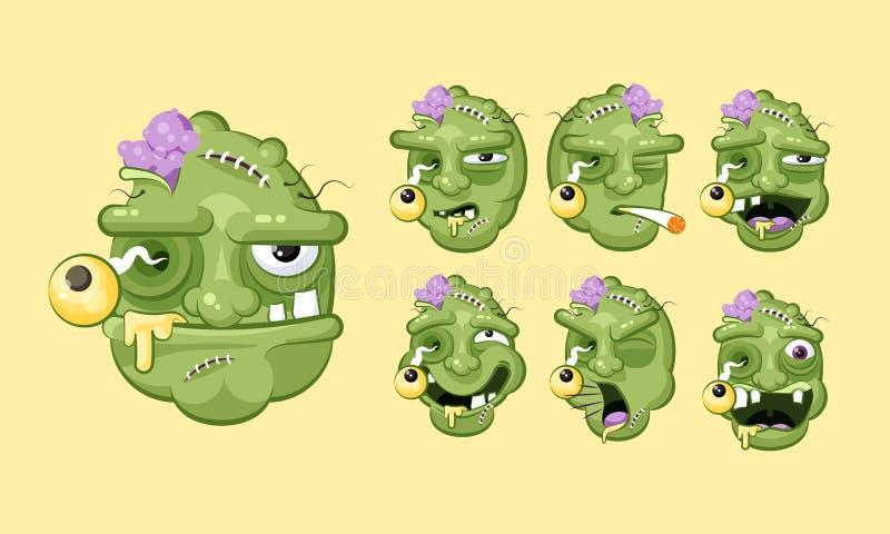 Ustawia wektorowego zestawu inkasowego okropnego wyraz twarzy żywy trup emocje ilustracji