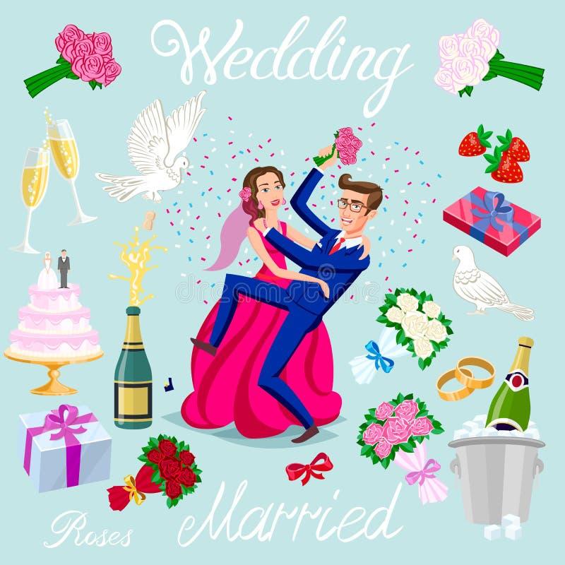Ustawia wektorowej ślubnej właśnie pary małżeńskiej z serc avatars charakterami róża kwiatów szampana torta nowożeńcy gołębi prez ilustracja wektor