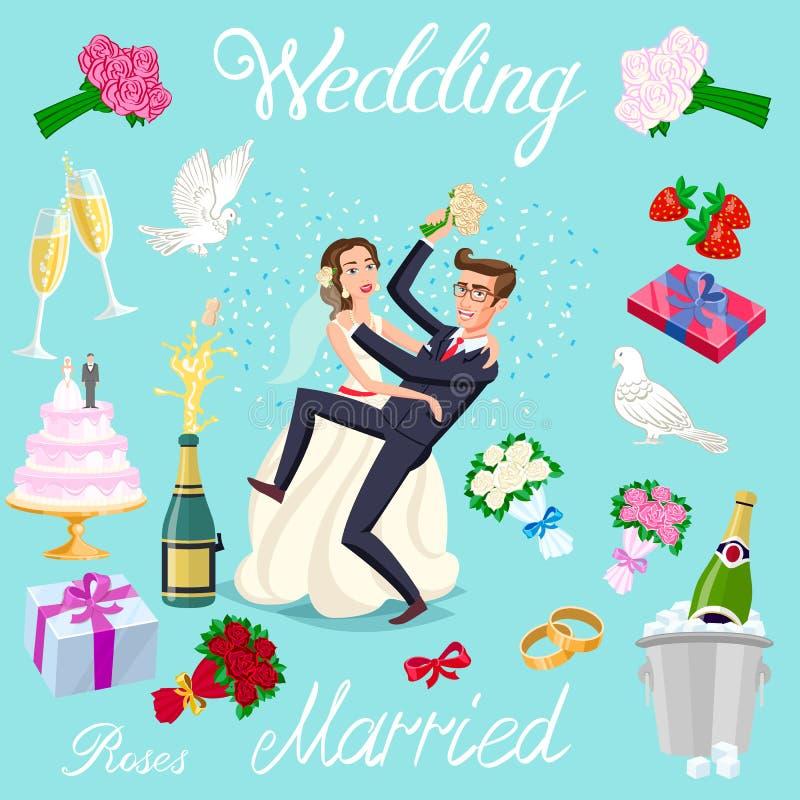 Ustawia wektorowej ślubnej właśnie pary małżeńskiej z serc avatars charakterami róża kwiatów szampana torta nowożeńcy gołębi prez ilustracji