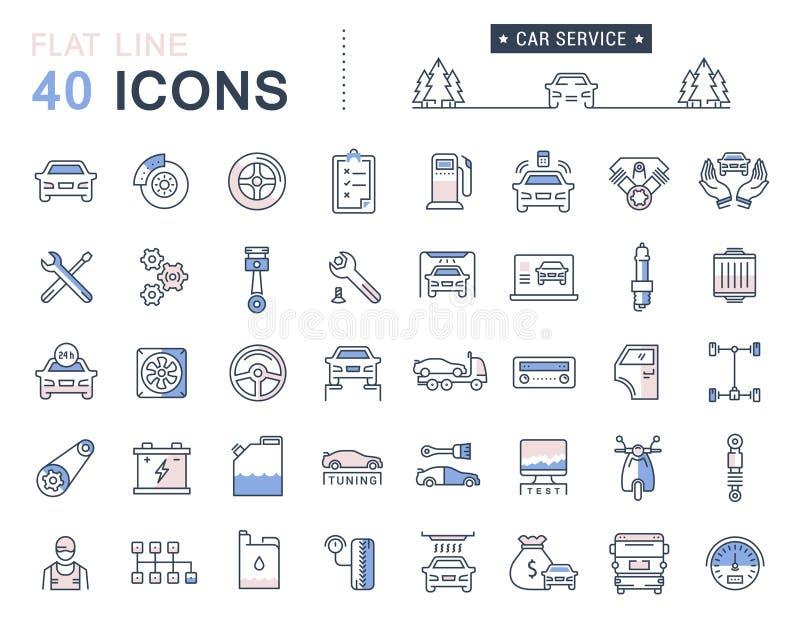Ustawia Wektorowej mieszkanie linii ikon samochodu usługa royalty ilustracja