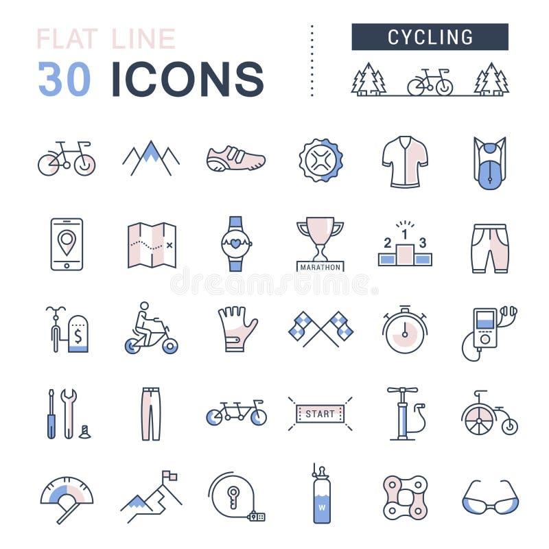 Ustawia Wektorowy mieszkanie linii ikon Jeździć na rowerze ilustracji