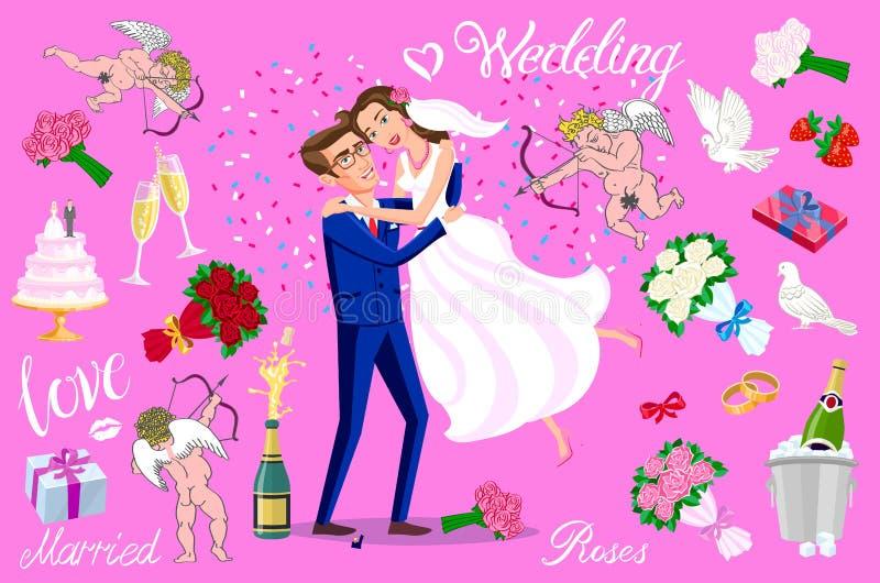 Ustawia wektorowy Właśnie zamężnego, nowożeńcy, państwo młodzi set Szczęśliwy pary odświętności małżeństwo, taniec, całowanie, pr ilustracji