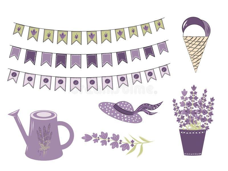 Ustawia Wektorowych elementy dla lawendy w stylu Provence, lawenda kwitnie tworzyć romantyczny delikatnego i protestuje ilustracja wektor