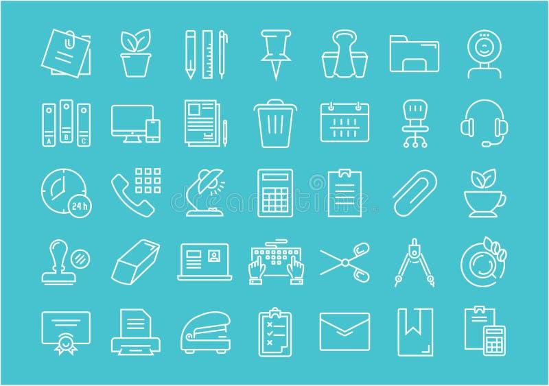 Ustawia Wektorowych mieszkanie linii ikon Biurowych narzędzia ilustracja wektor