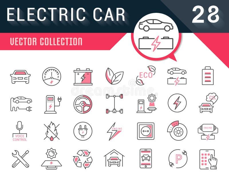 Ustawia Wektorowych mieszkanie linii ikon Elektrycznych samochody royalty ilustracja