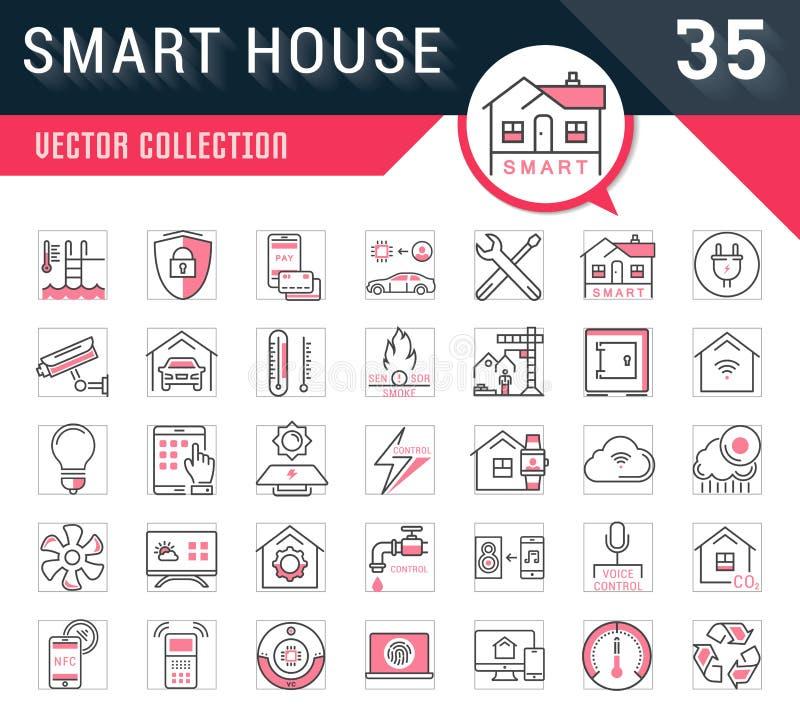 Ustawia Wektorowych mieszkanie linii ikon Mądrze dom ilustracja wektor