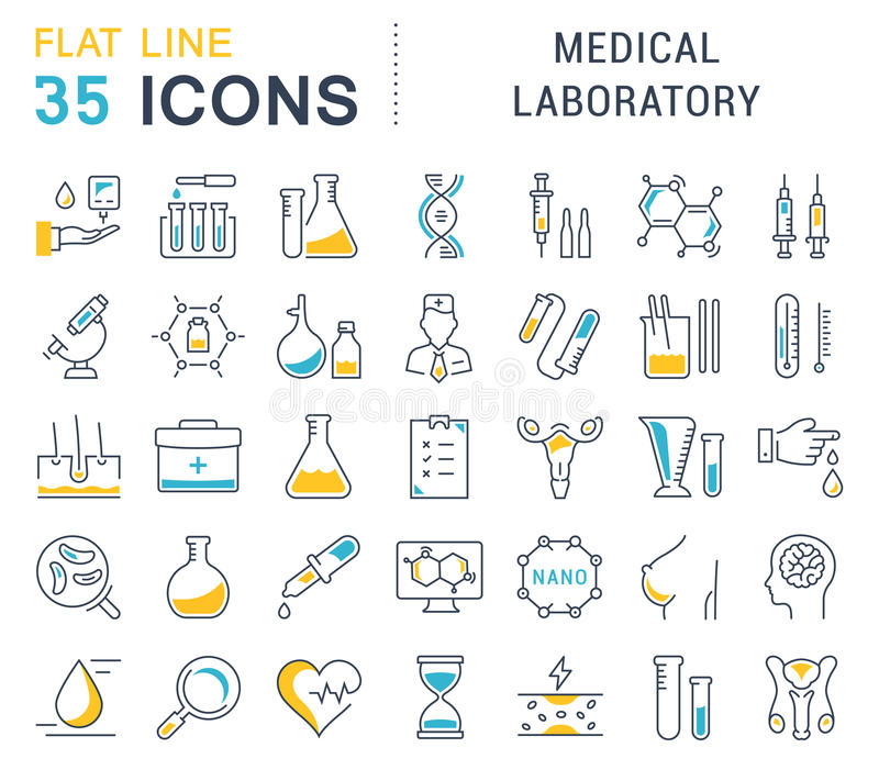 Ustawia Wektorowych mieszkanie linii ikon Medycznego laboratorium ilustracja wektor