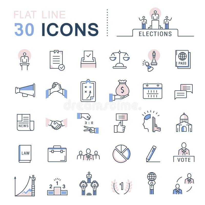 Ustawia Wektorowych mieszkanie linii ikon wybory ilustracji