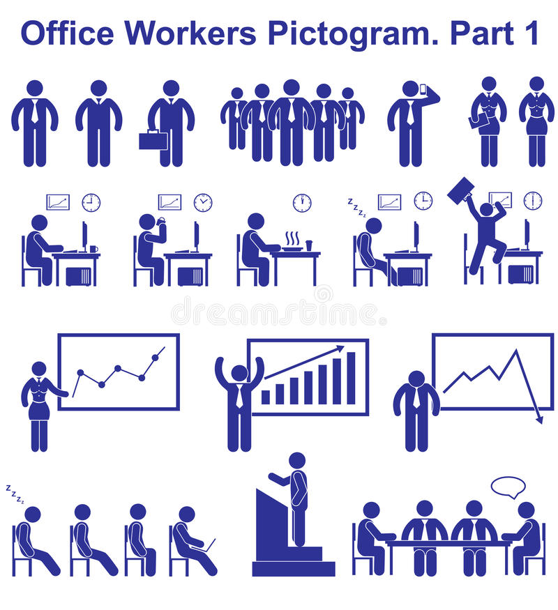 Ustawia wektorowych urzędników piktogramy Biznesowe ikony i symbole ludzie ilustracja wektor