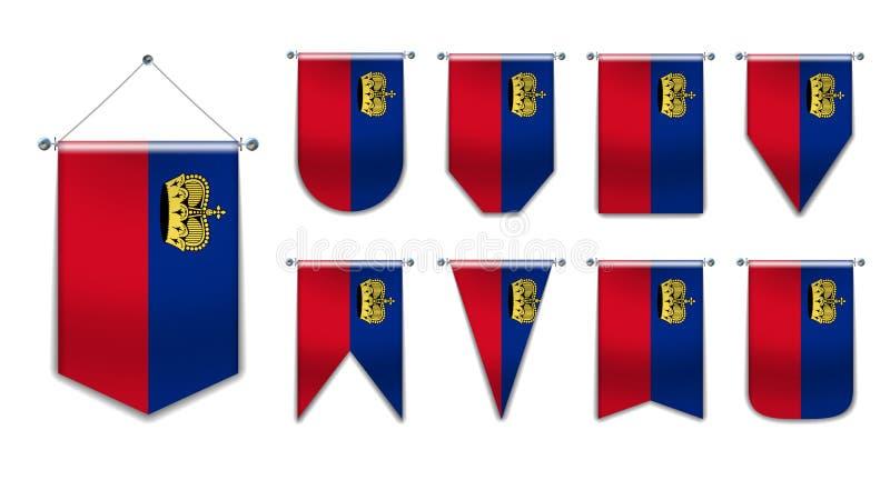 Ustawia wiszące flagi LIECHTENSTAIN z teksturą tekstylną Różnorodność kształtów państwa bandery Szablon pionowy zdjęcia stock