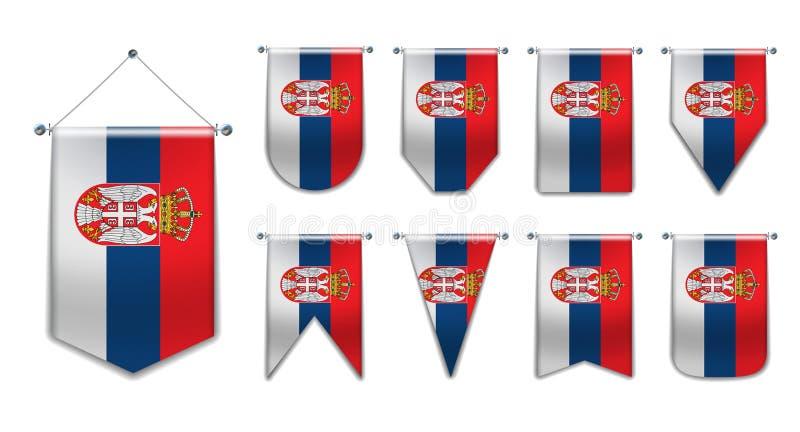 Ustawia wiszące flagi SERBIA z teksturą tekstylną Różnorodność kształtów państwa bandery Pionowy Pennant szablonu dla fotografia royalty free