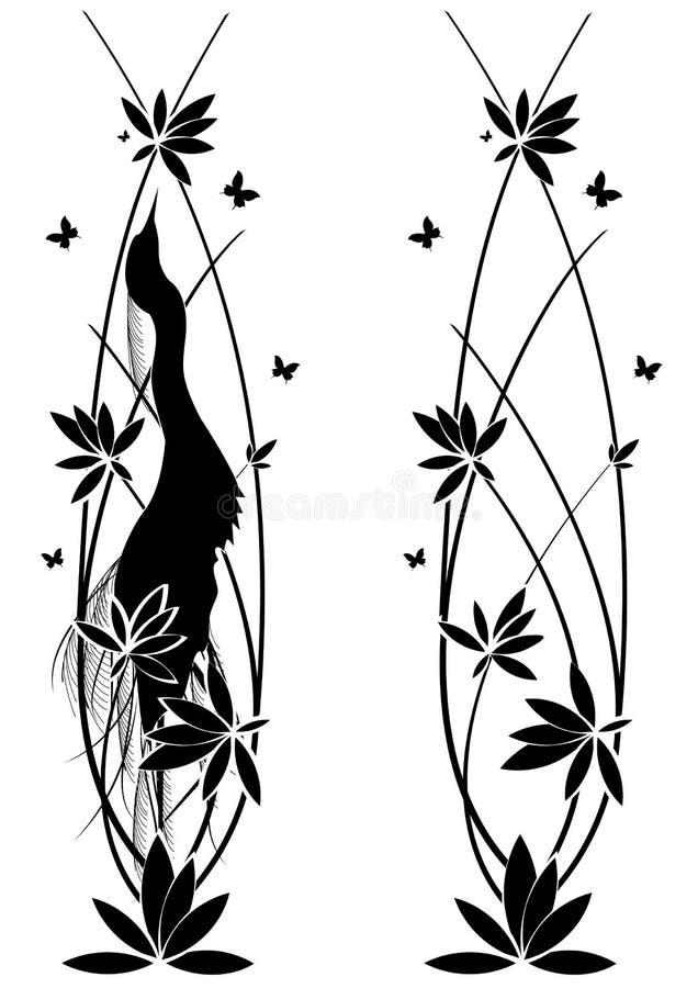 Ustawia witn kwiatów i egret ilustracji
