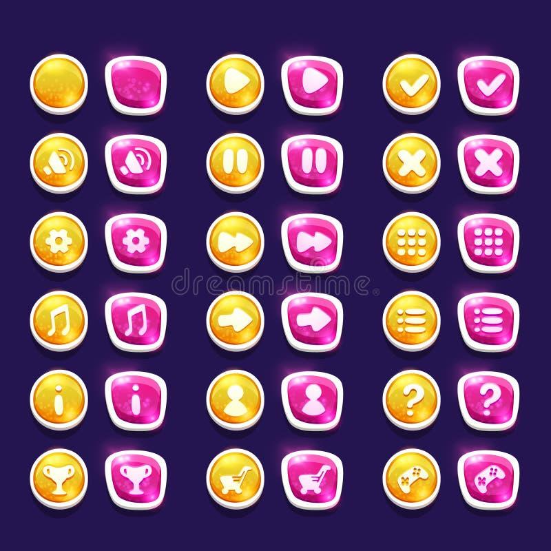 Ustawia z błyszczącą czerwienią i koloru żółtego interfejs zapina z ikonami ilustracja wektor