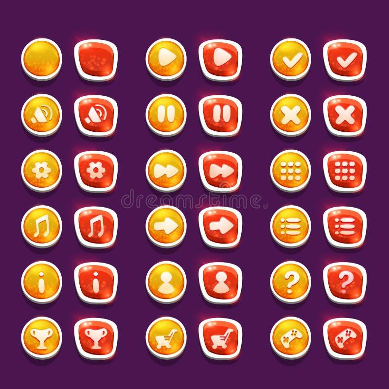 Ustawia z błyszczącą czerwienią i koloru żółtego interfejs zapina z ikonami royalty ilustracja