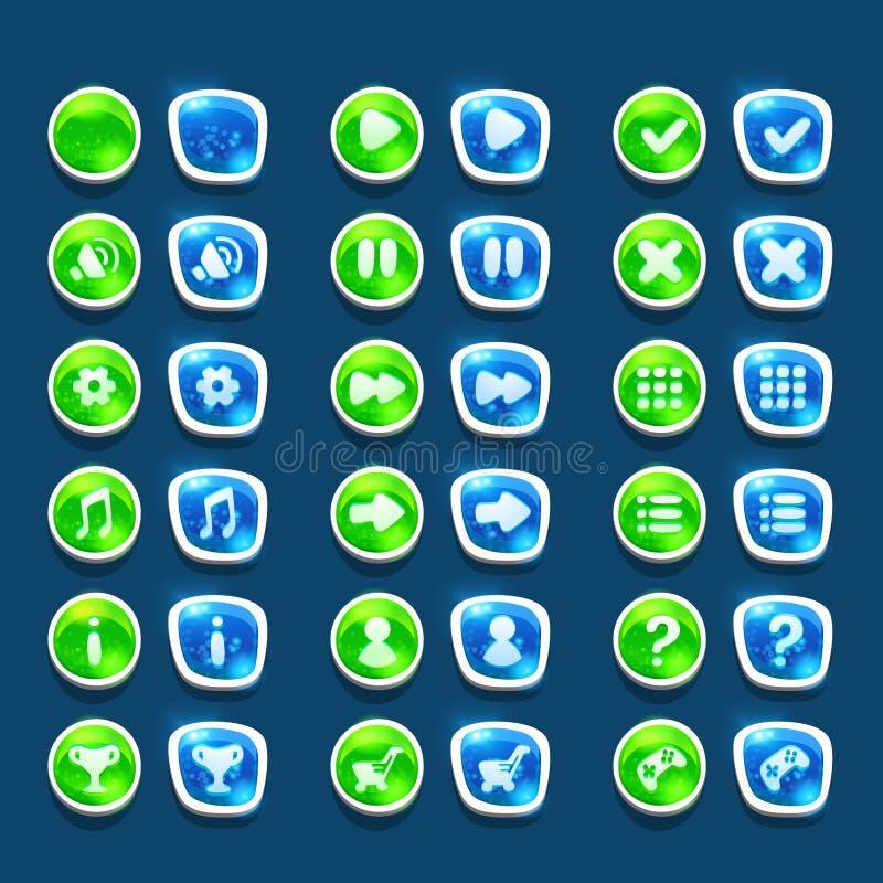 Ustawia z błyszczącą zielenią i błękita interfejs zapina z ikonami ilustracja wektor