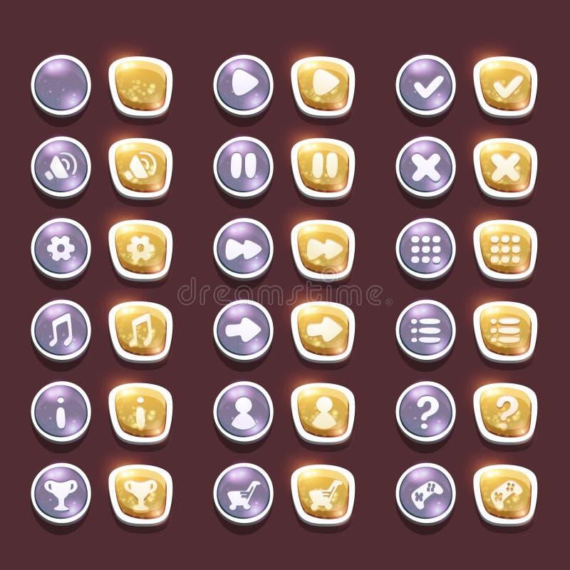 Ustawia z błyszczącym srebrem i złoto interfejs zapina z ikonami ilustracji