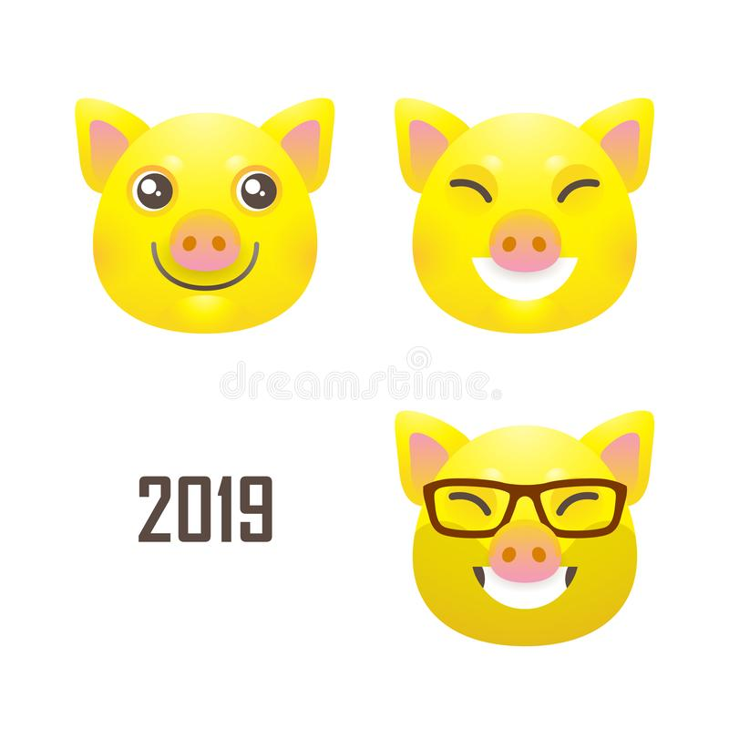 Ustawia z ilustracje kawaii świnia, symbol 2019 ilustracji