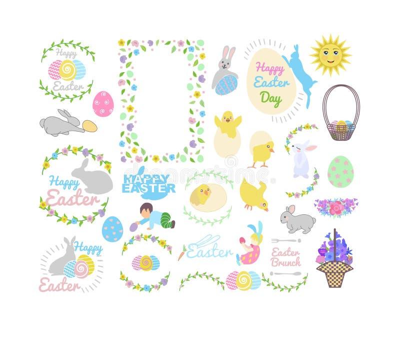 Ustawia z królikiem, małymi żółtymi kurczaki w różnych pozach, Easter jajka, chłopiec, dziewczyna, kosz, literowanie i gałąź, ilustracja wektor