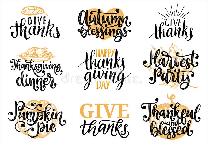 Ustawia z literowaniem i ilustracjami dla dziękczynienie dnia Daje dzięki, Dyniowemu kulebiakowi, wektor etykietkom, rysować i rę royalty ilustracja