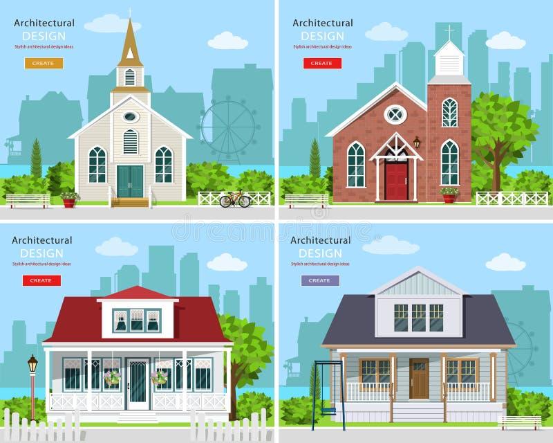Ustawia z nowożytnymi kościelnymi budynkami i intymnymi domami ilustracja wektor
