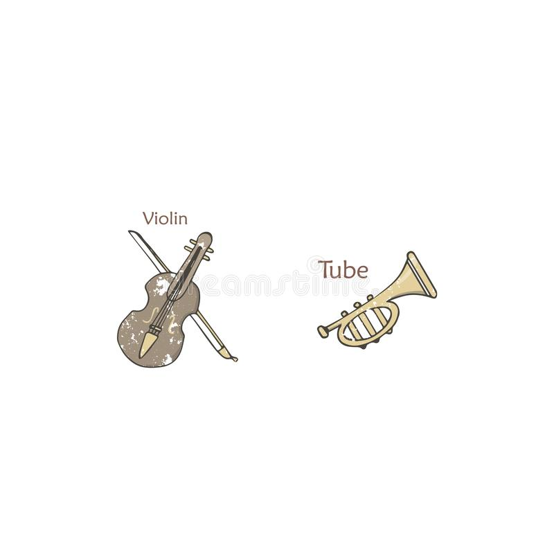 Ustawia z orkiestra instrumentami muzycznymi odizolowywającymi na białym tle, wektor Barwić ilustracjach błękity, skale i jazzie, ilustracji