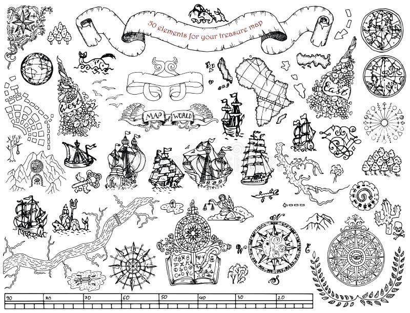Ustawia z ręka rysującymi elementami dla skarbu pirata i polowania mapy na bielu ilustracji