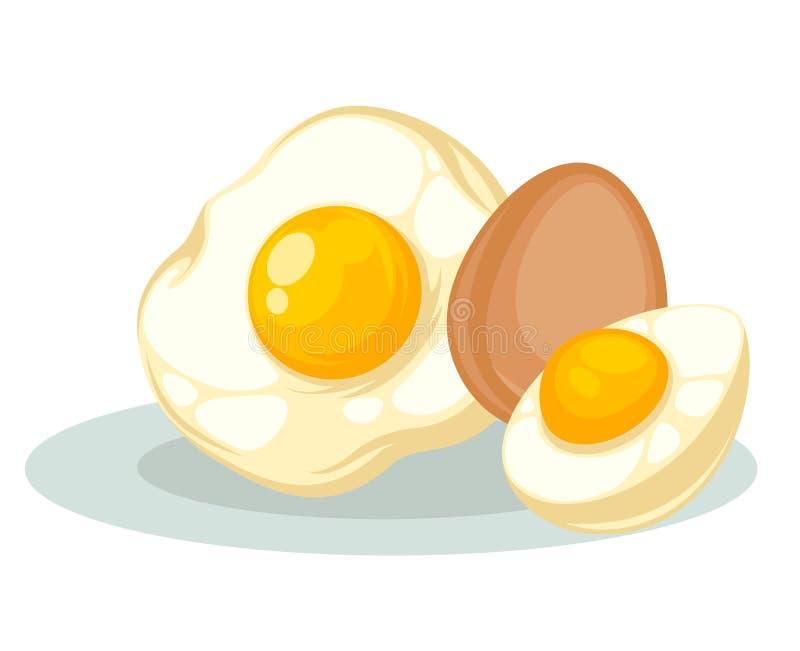 Ustawia z surowymi, smażącymi i gotującymi się kurczaków jajkami, ilustracji