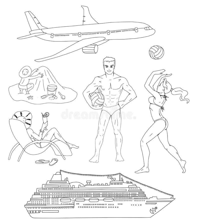 Ustawia z sylwetkami ludzie i rejsu transport ilustracja wektor