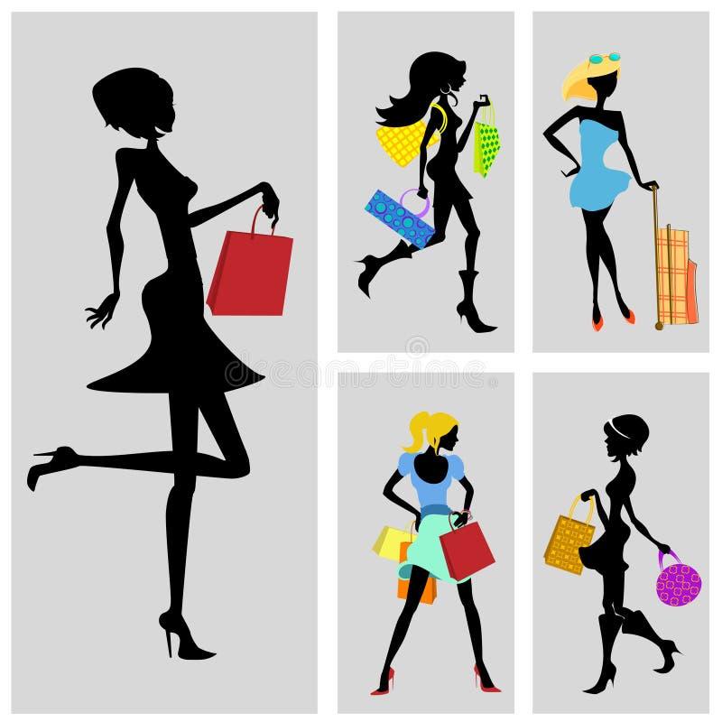 ustawia zakupy kobiety royalty ilustracja