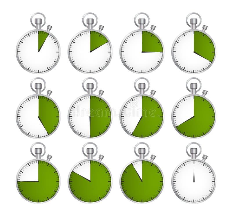 ustawia zegary również zwrócić corel ilustracji wektora royalty ilustracja