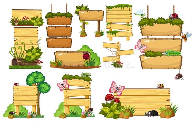 ustawia znaki drewnianych ilustracja wektor