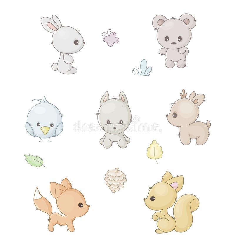 Ustawia zwierzęta royalty ilustracja