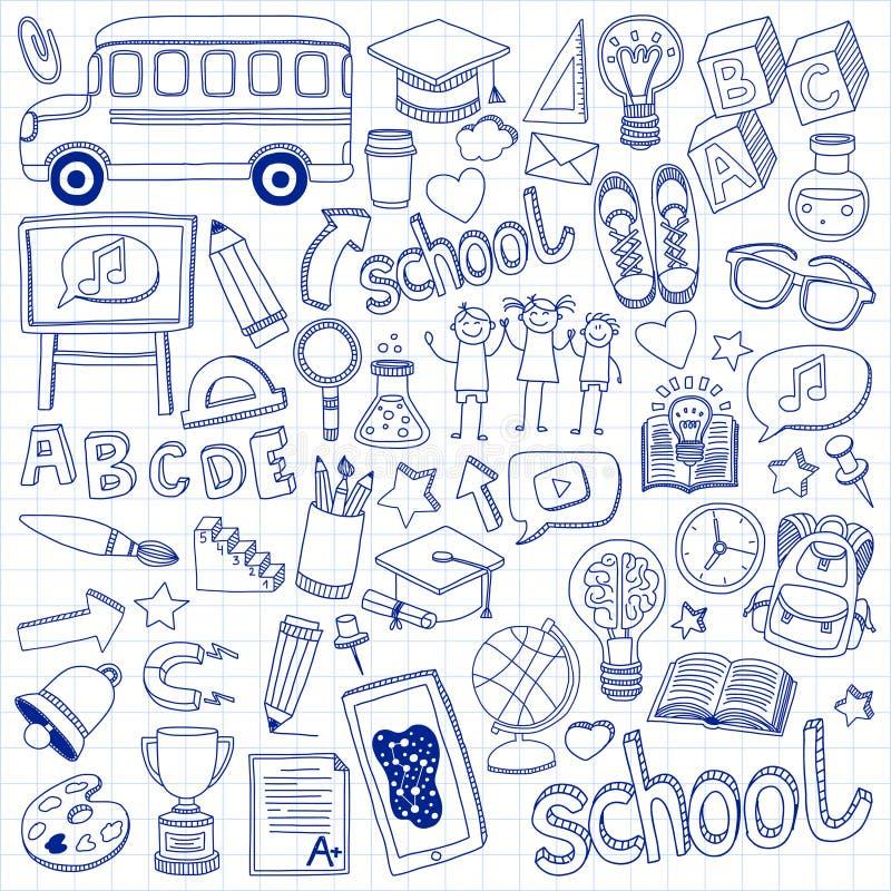 ustawiająca doodle tylna szkoła ikony liniowe ilustracji