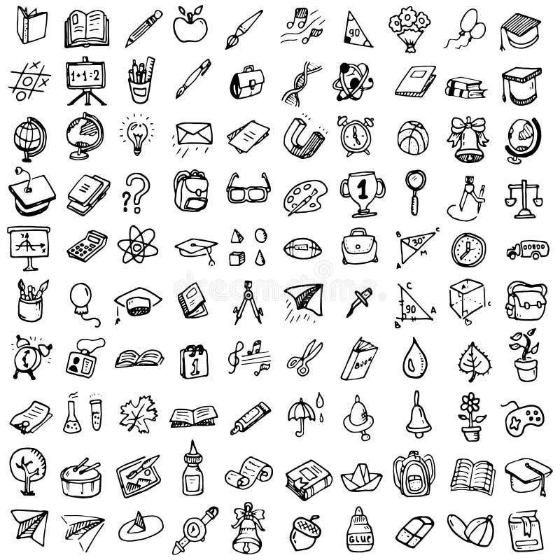 ustawiająca doodle tylna szkoła Różnorodny szkolny materiał - dostawy dla s royalty ilustracja
