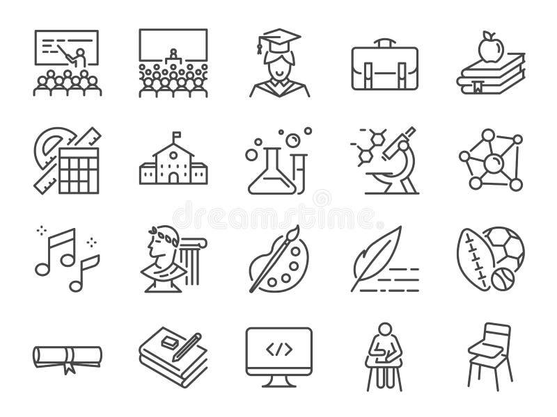 ustawiająca ikony tylna szkoła Zawrzeć ikony, uczy się gdy edukacja, nauka, wykłady, kurs, uniwersytet, książka, i więcej ilustracji