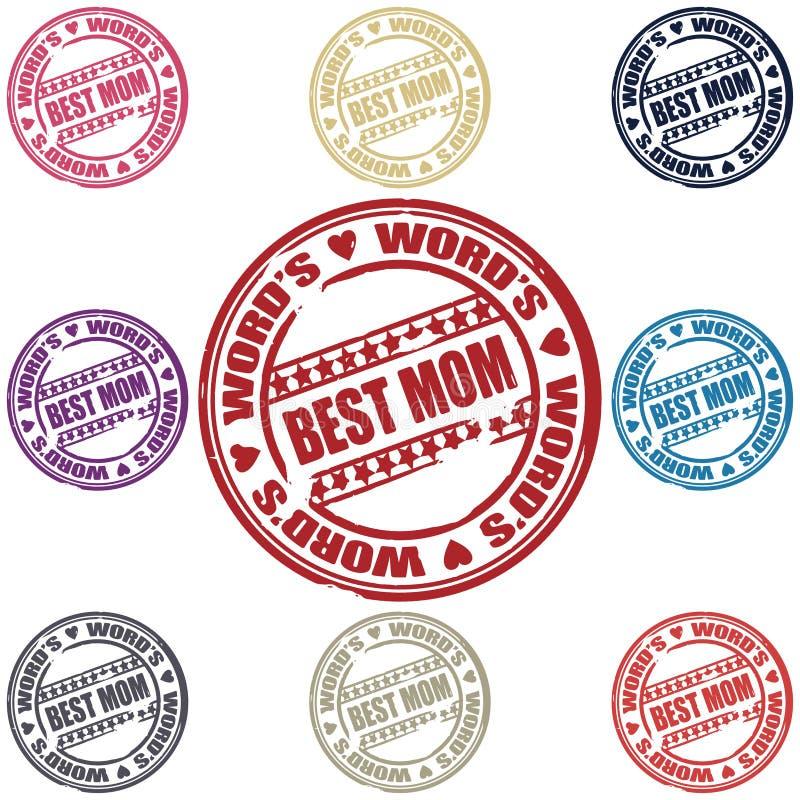 Ustawiająca znaczki najlepsza Mama ilustracja wektor