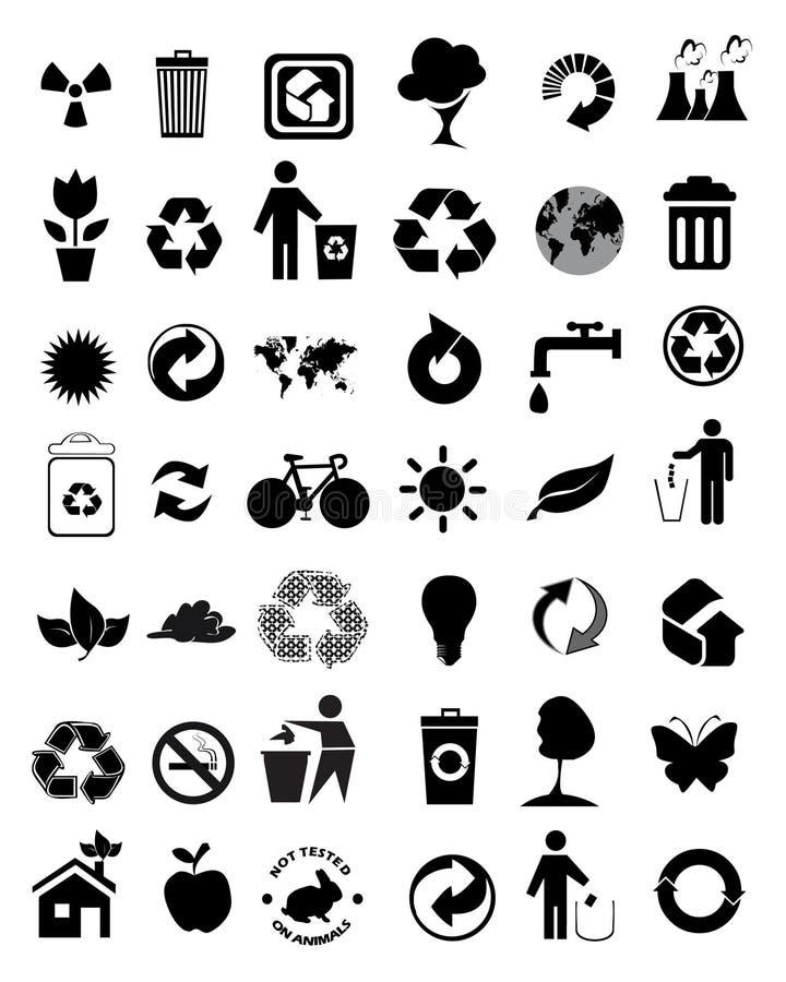 ustawiającej 42 środowiskowej ikony ilustracji